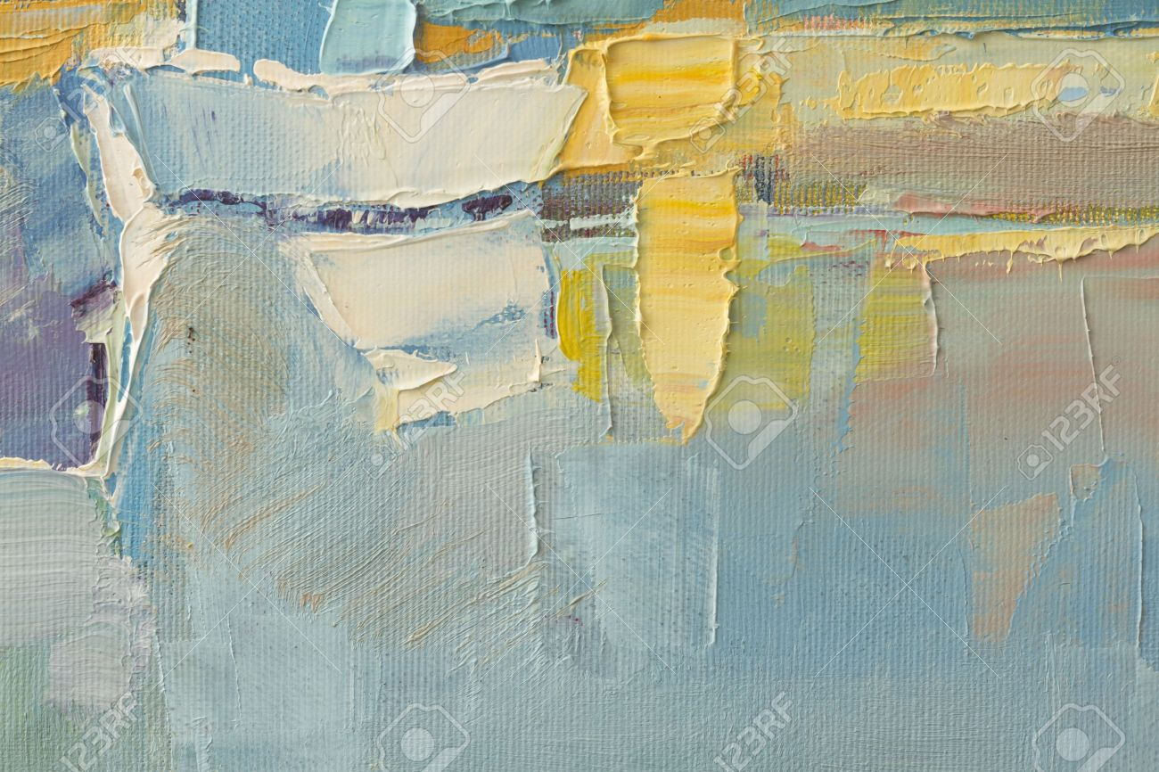 Abstract Wallpaper Of Oil Painting With Brush Strokes In Cool Colors Stock Photo
