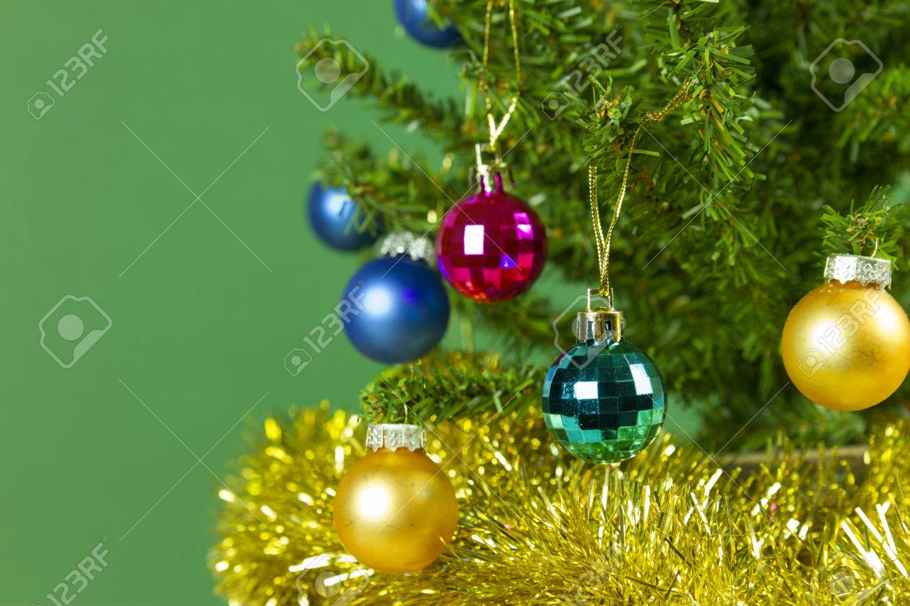 Wallpaper Of Christmas Tree Closeup With Tinsel, Multicolor Baubles ...
