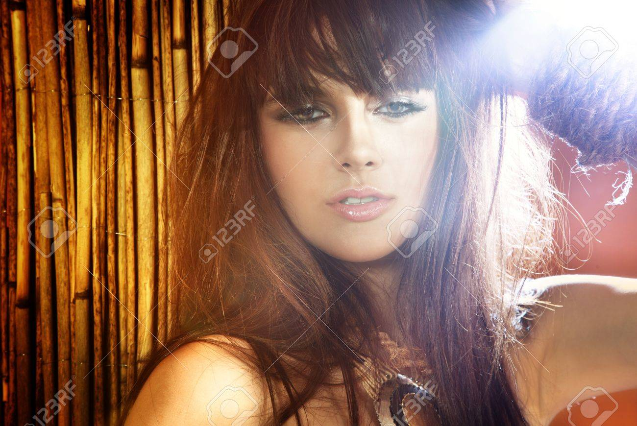 Sunny portrait of beautiful young brunette woman with long hair, fringe and nice makeup, looking at camera. Stock Photo - 21889489