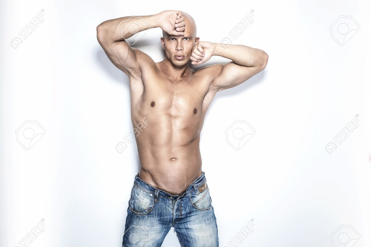 Photo Of Handsome Bald Man With Perfect Fitness Body Looking