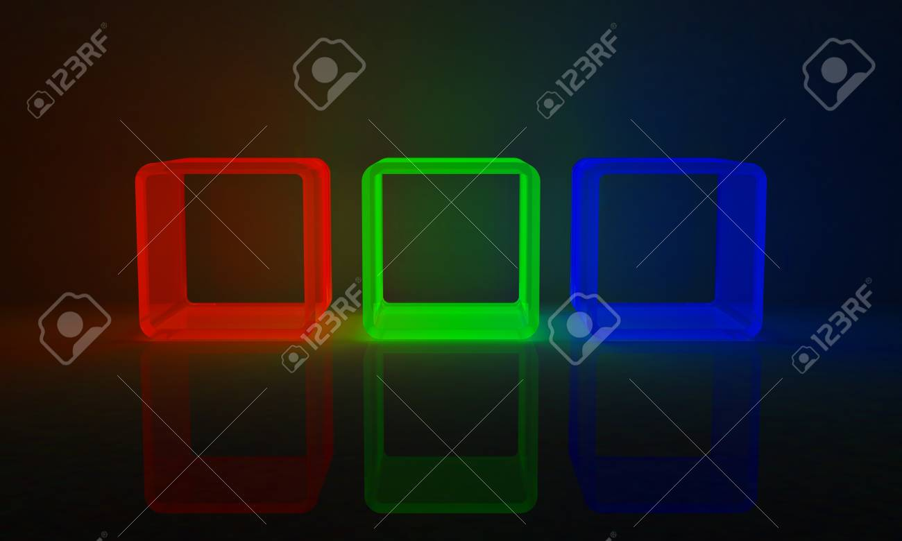 3 cubes in red, green and blue Stock Photo - 17561048