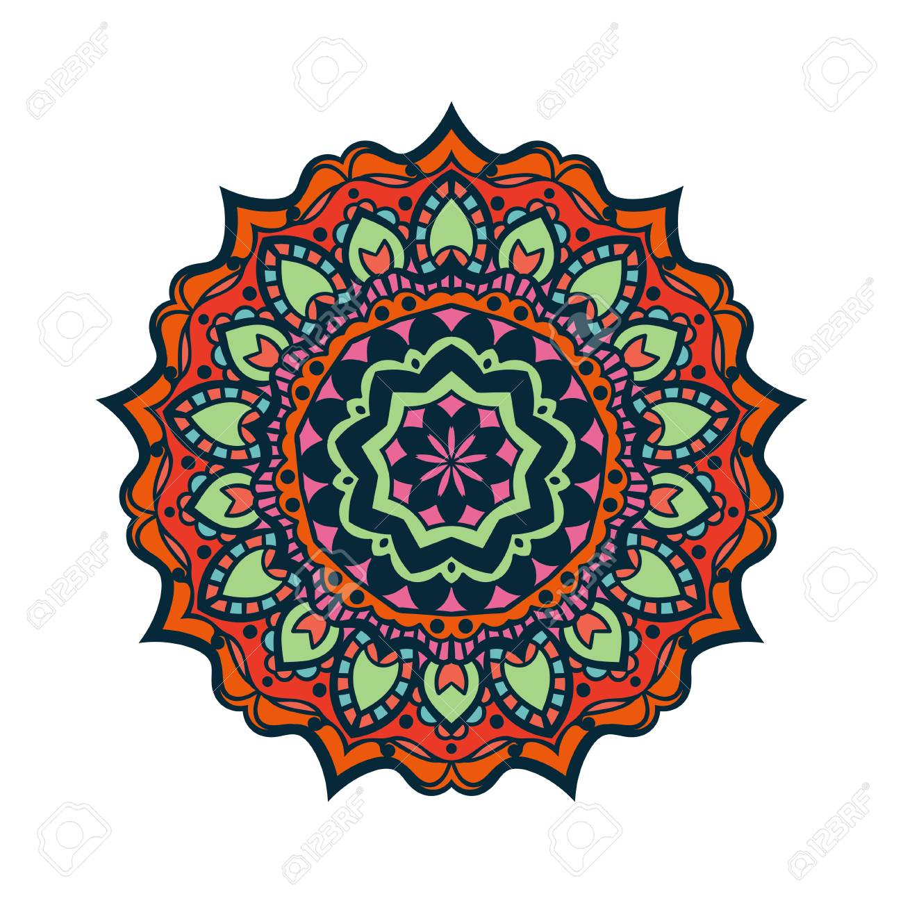 Flower Colored Ornamental Decorative Mandala Vintage Design Element Coloring Book Page Islam