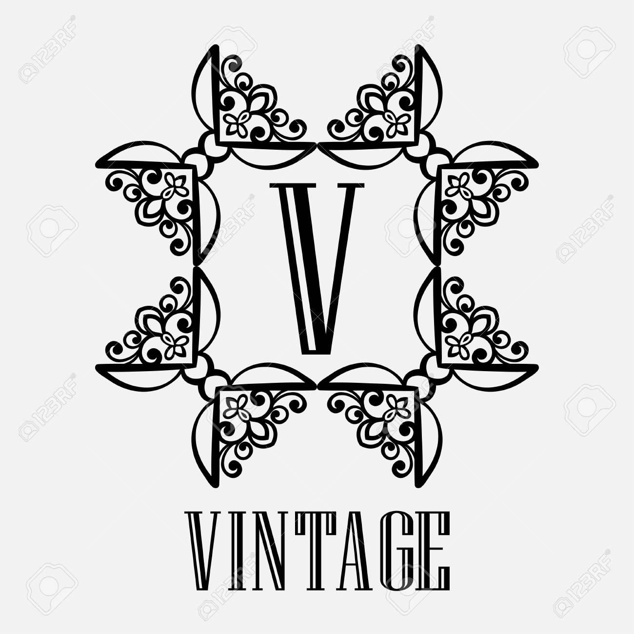Vintage Ornamental Monogram With Square And Star Shaped Frame Royalty Free Cliparts Vectors And Stock Illustration Image 97514220