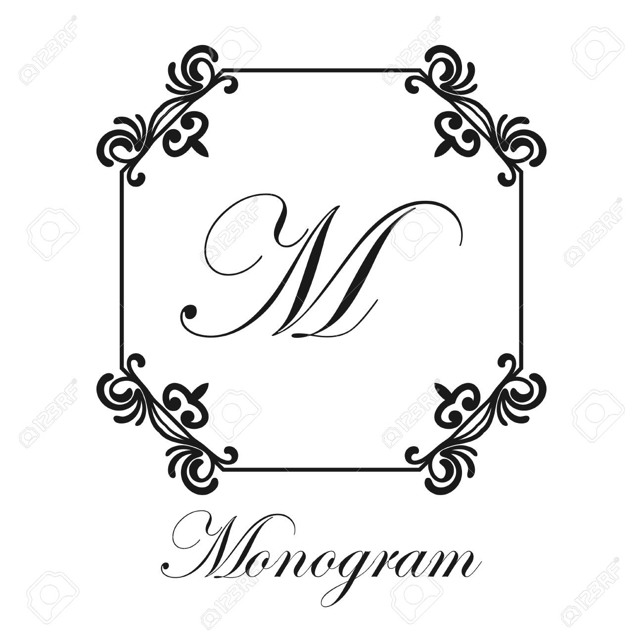 Black And White Simple Ornamental Monogram With A Frame With