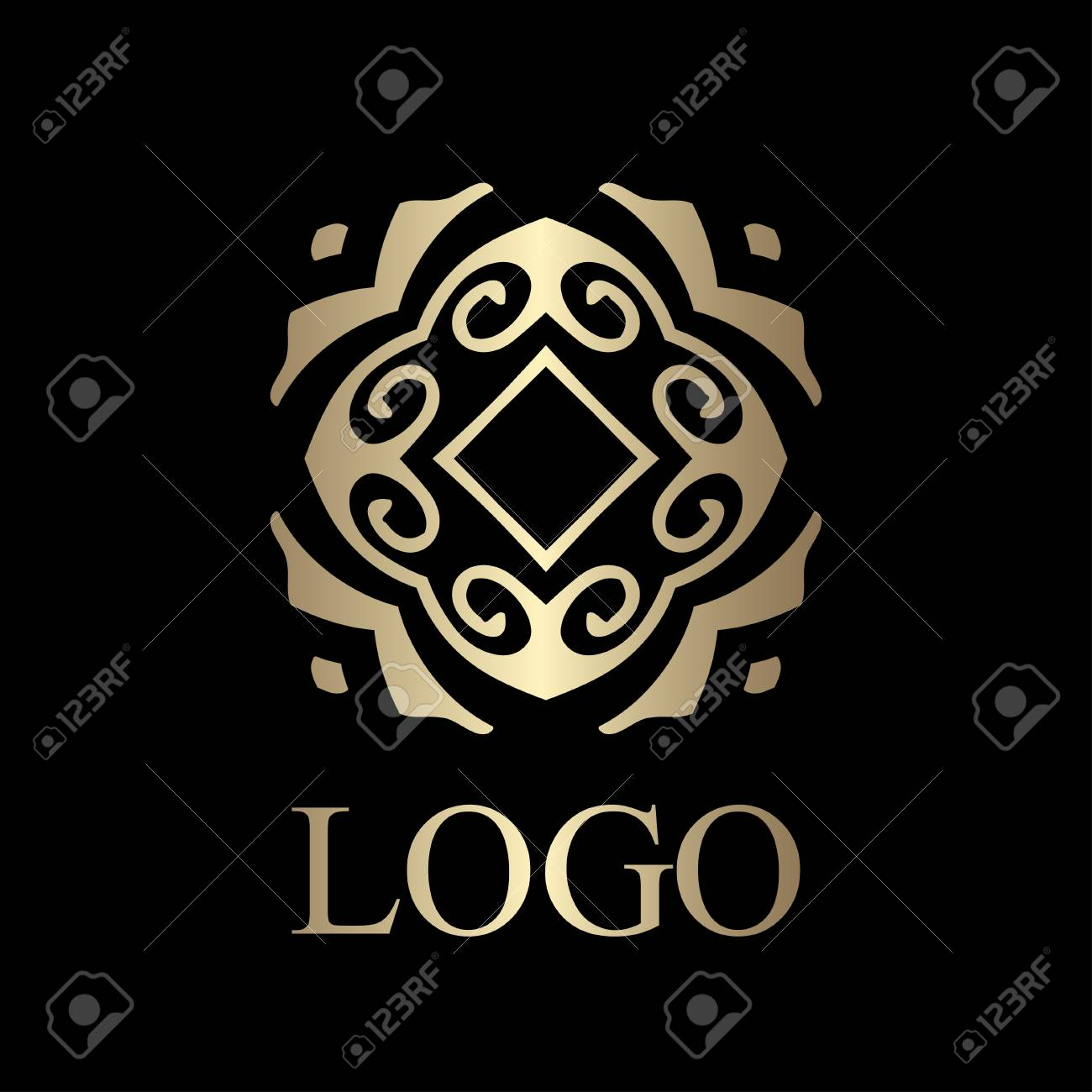 flourishes calligraphic art deco logo emblem template luxury