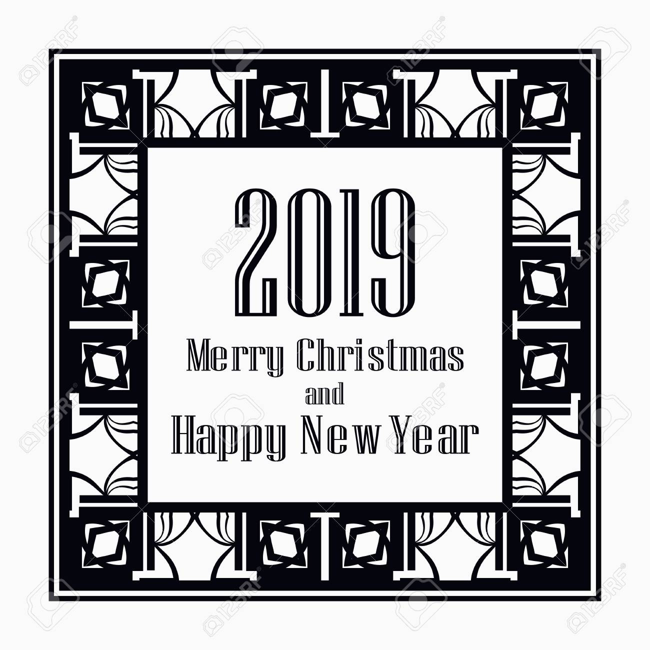 art deco border and frame merry christmas and happy new year greeting card 2019