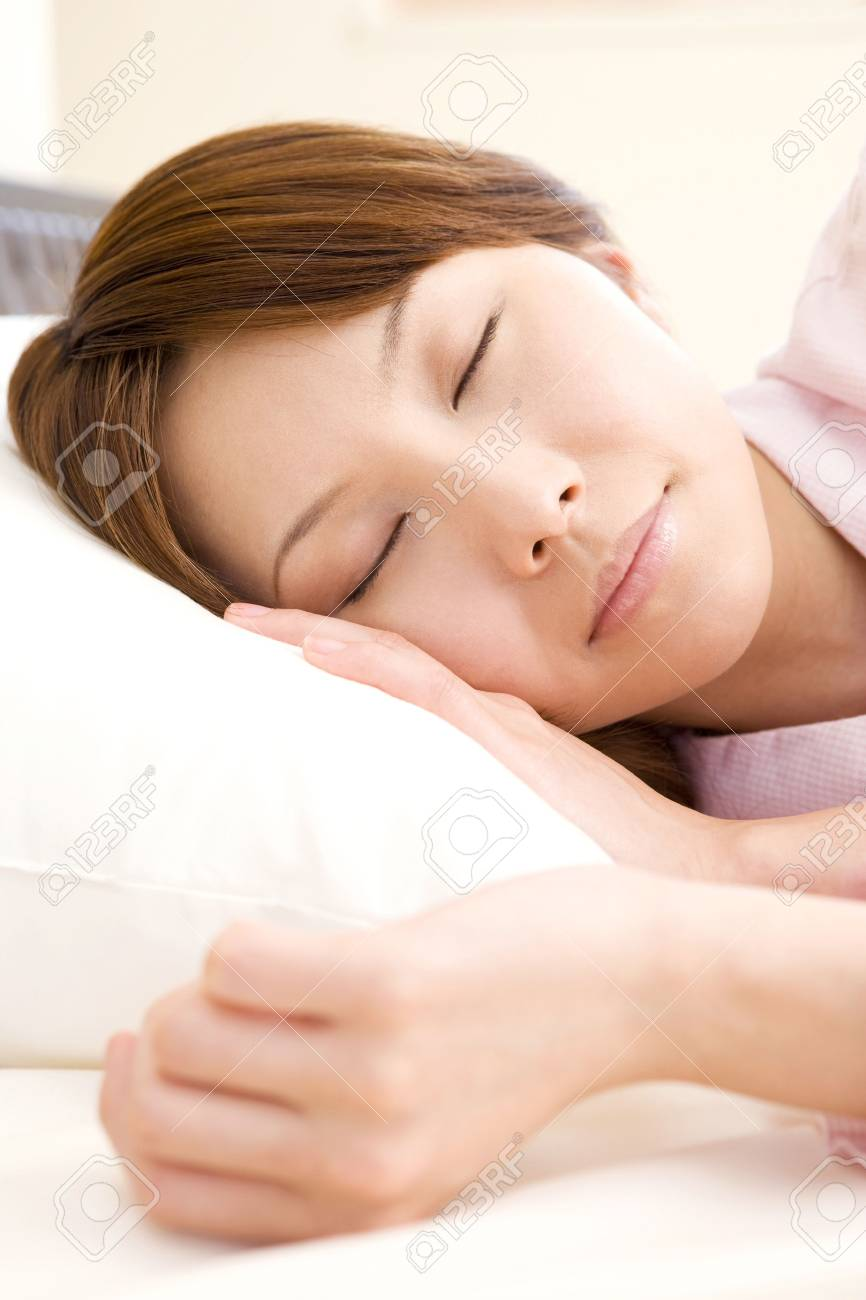 Sleeping face of Japanese woman Stock Photo - 39745868