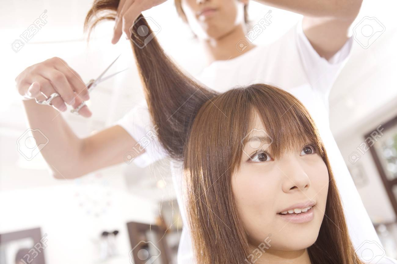 Japanese Girl Has A Haircut Stock Photo Picture And Royalty Free