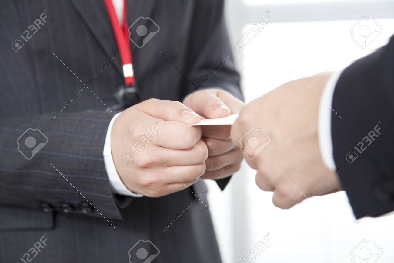 Business People To Exchange Business Cards And OL Stock Photo ...