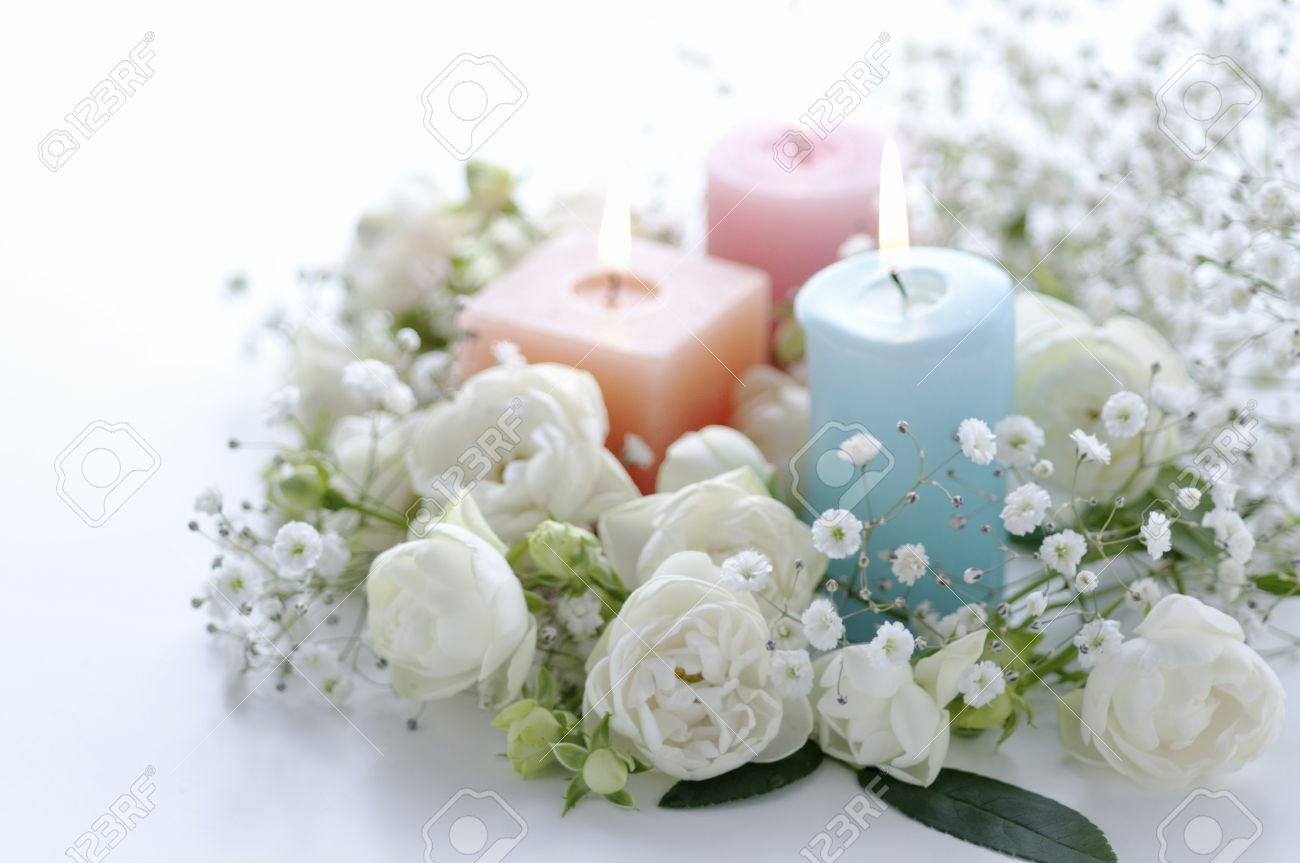 White flowers flower arrangements and candles stock photo picture stock photo white flowers flower arrangements and candles mightylinksfo