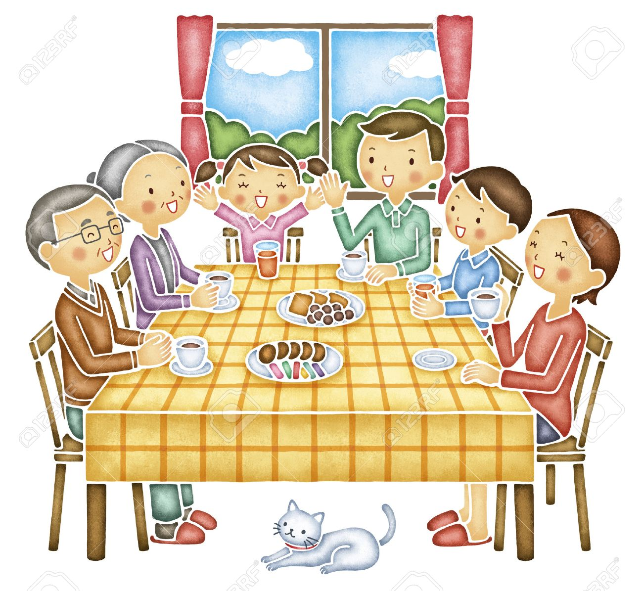 Family of six that the conversation at the table - 49343329