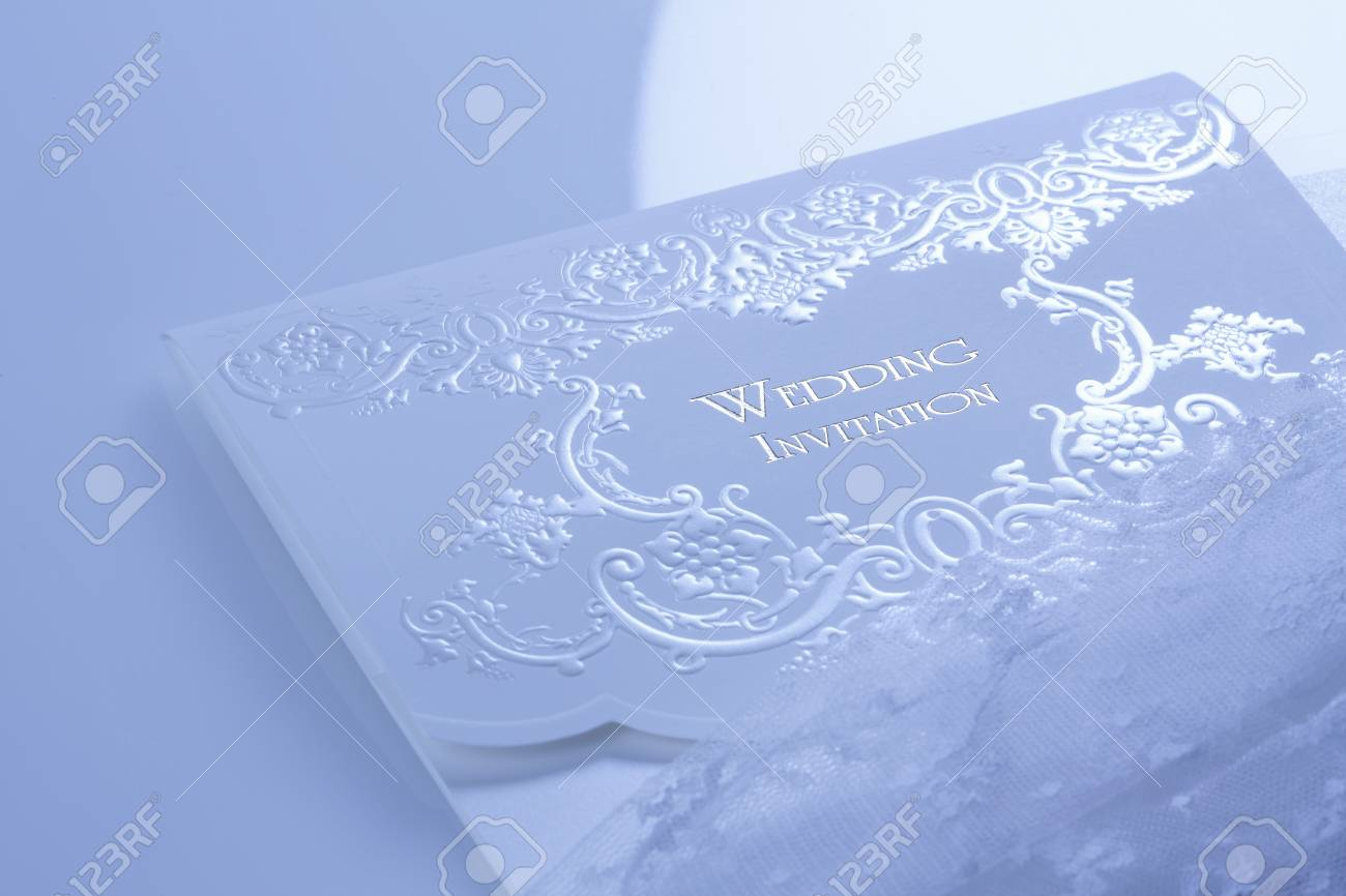 Lace Wedding Invitations With Bride\'s White Gloves Stock Photo ...