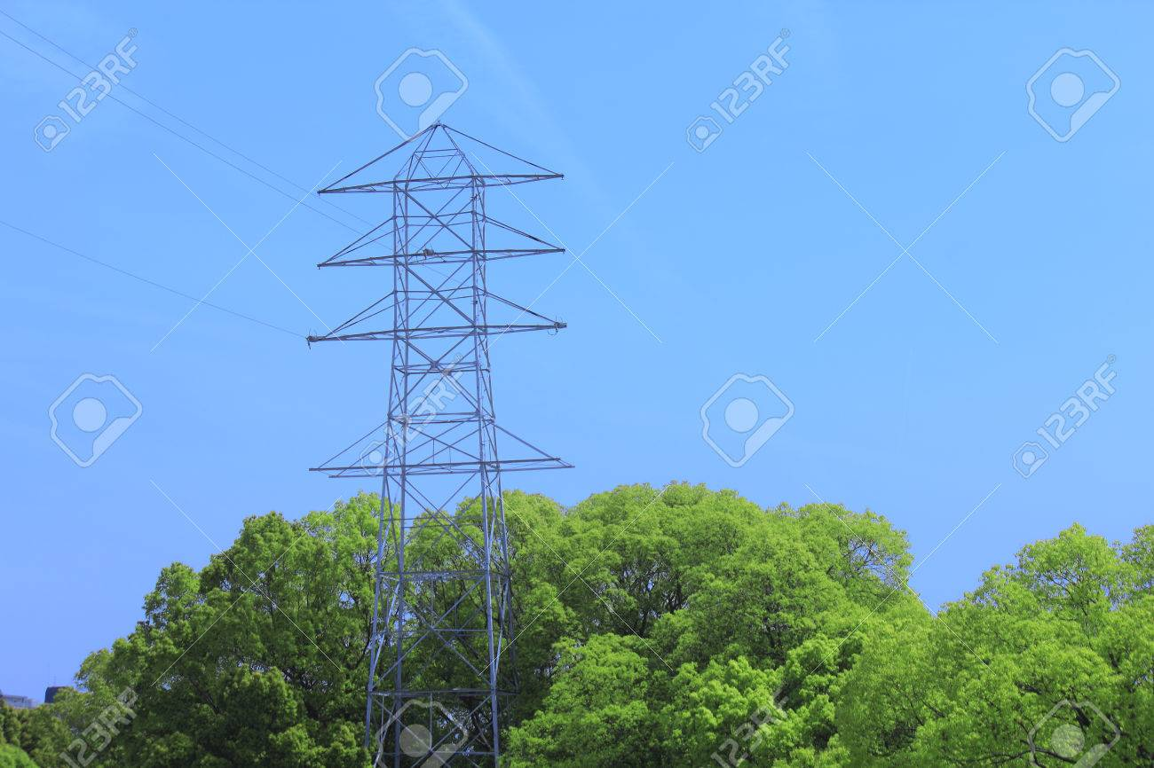 Power Transmission Line Towers And Blue Sky Stock Photo Picture And Royalty Free Image Image 46677887