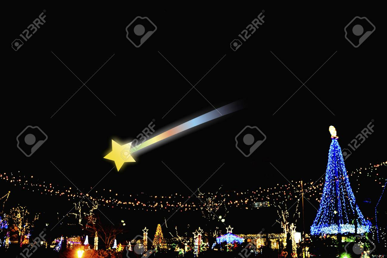 Christmas Tree And Shooting Star Stock Photo, Picture And Royalty ...