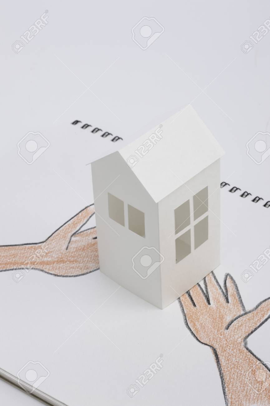 Paper Craft House And Illustrations Of Hand Stock Photo Picture And