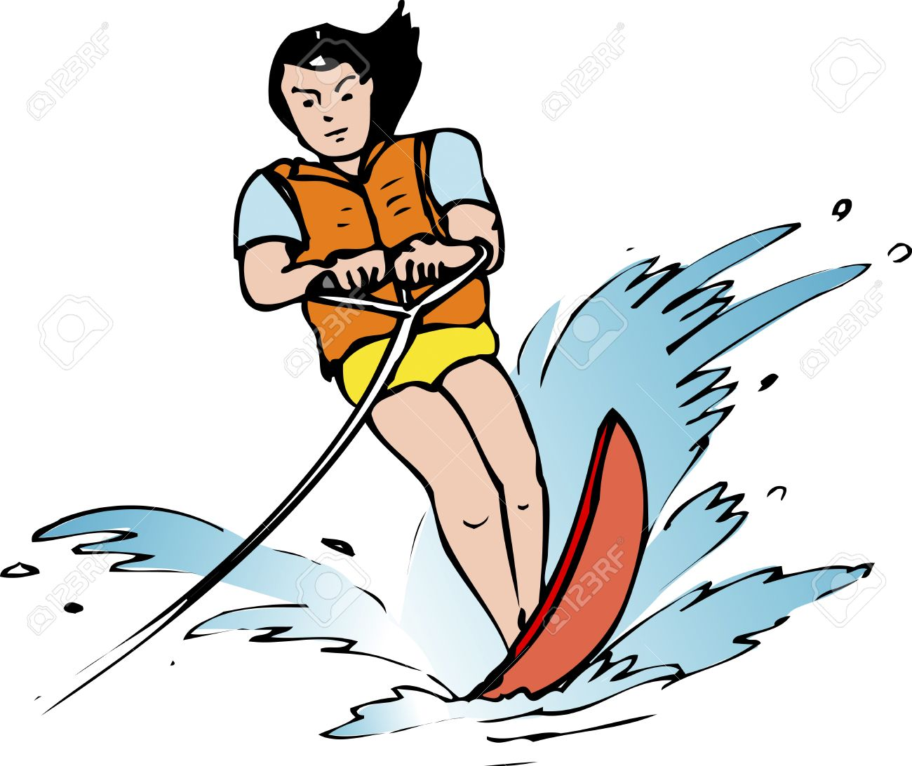 water skiing stock photo picture and royalty free image image rh 123rf com girl water skiing clipart santa water skiing clipart