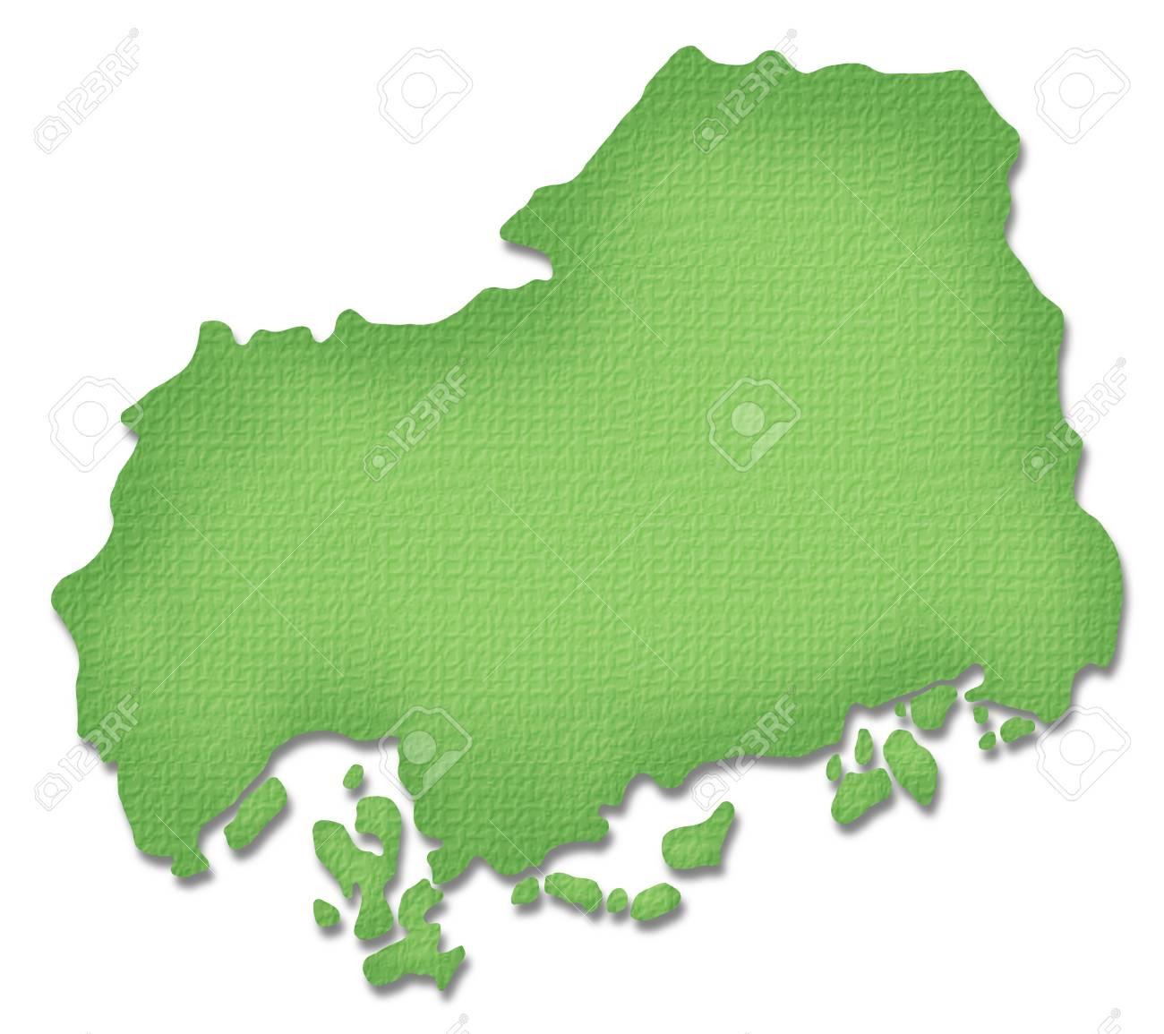 Hiroshima Prefecture map of Paper Craft tone