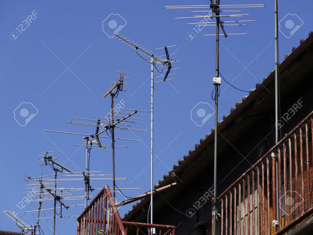 Apartment Flood The TV Antenna Stock Photo, Picture And Royalty Free ...