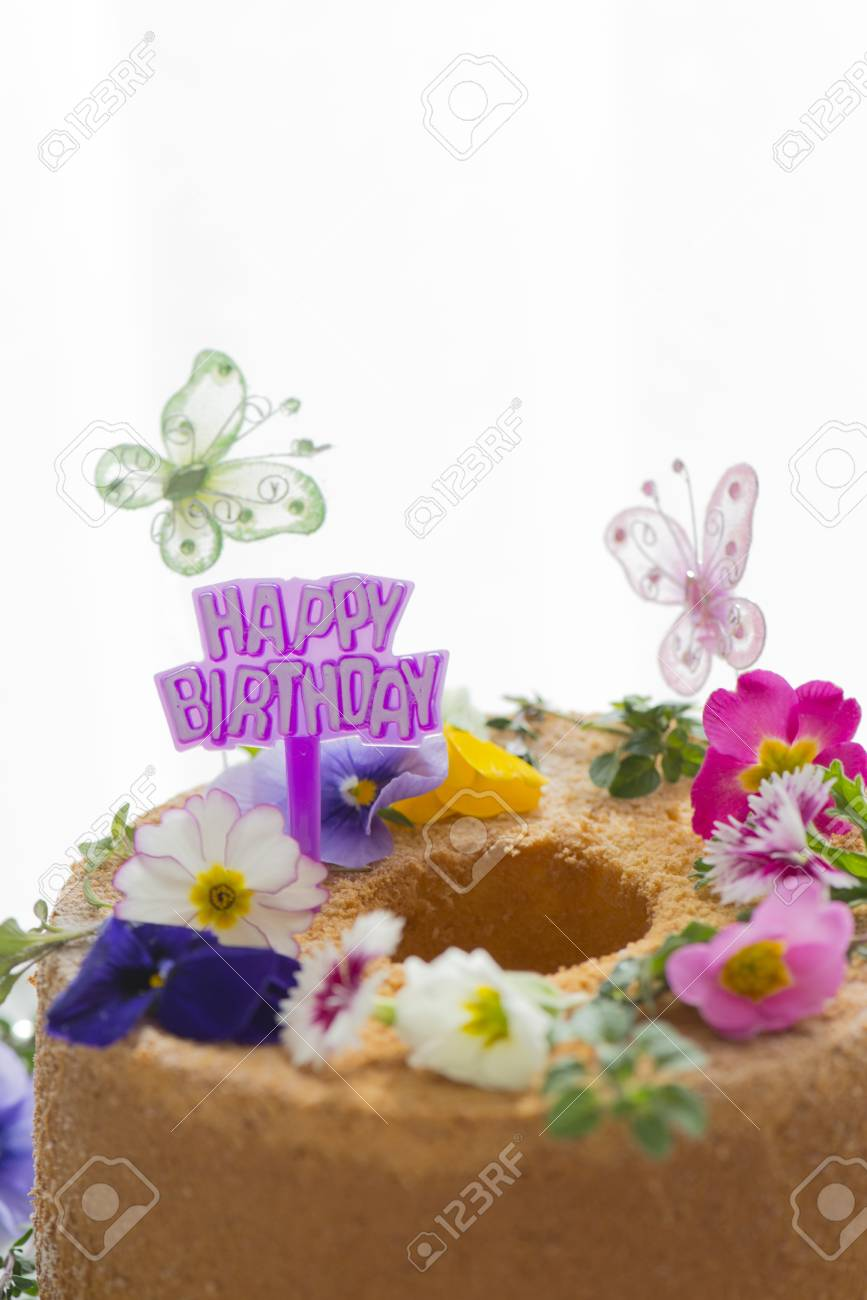Remarkable Flowers And Butterfly Birthday Cake Stock Photo Picture And Personalised Birthday Cards Petedlily Jamesorg