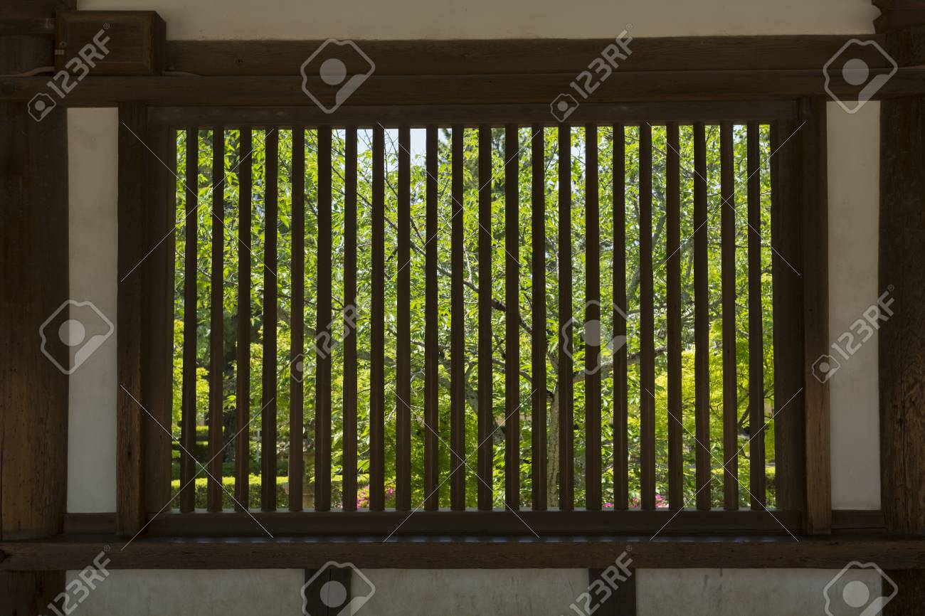 horyuji saiin cathedral corridor lattice window of stock photo