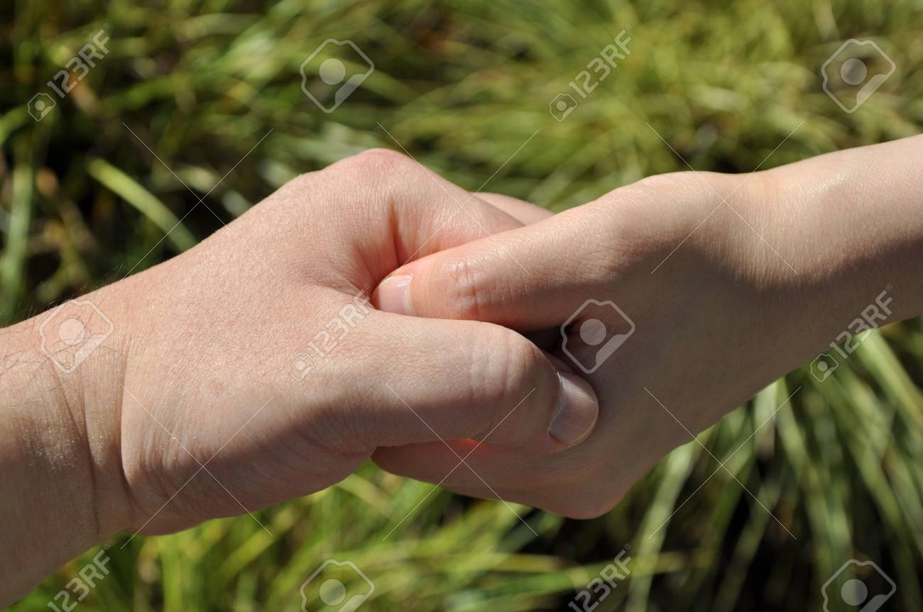 Hold hand with nature leaf background Stock Photo - 7697542
