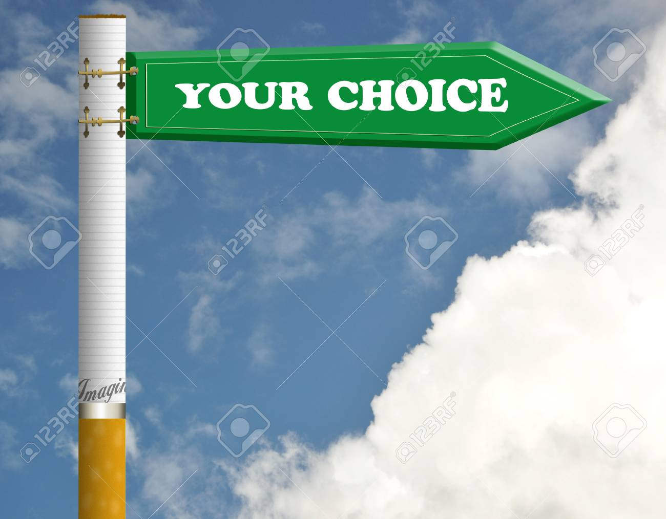 Your choice cigarette road sign Stock Photo - 9652649