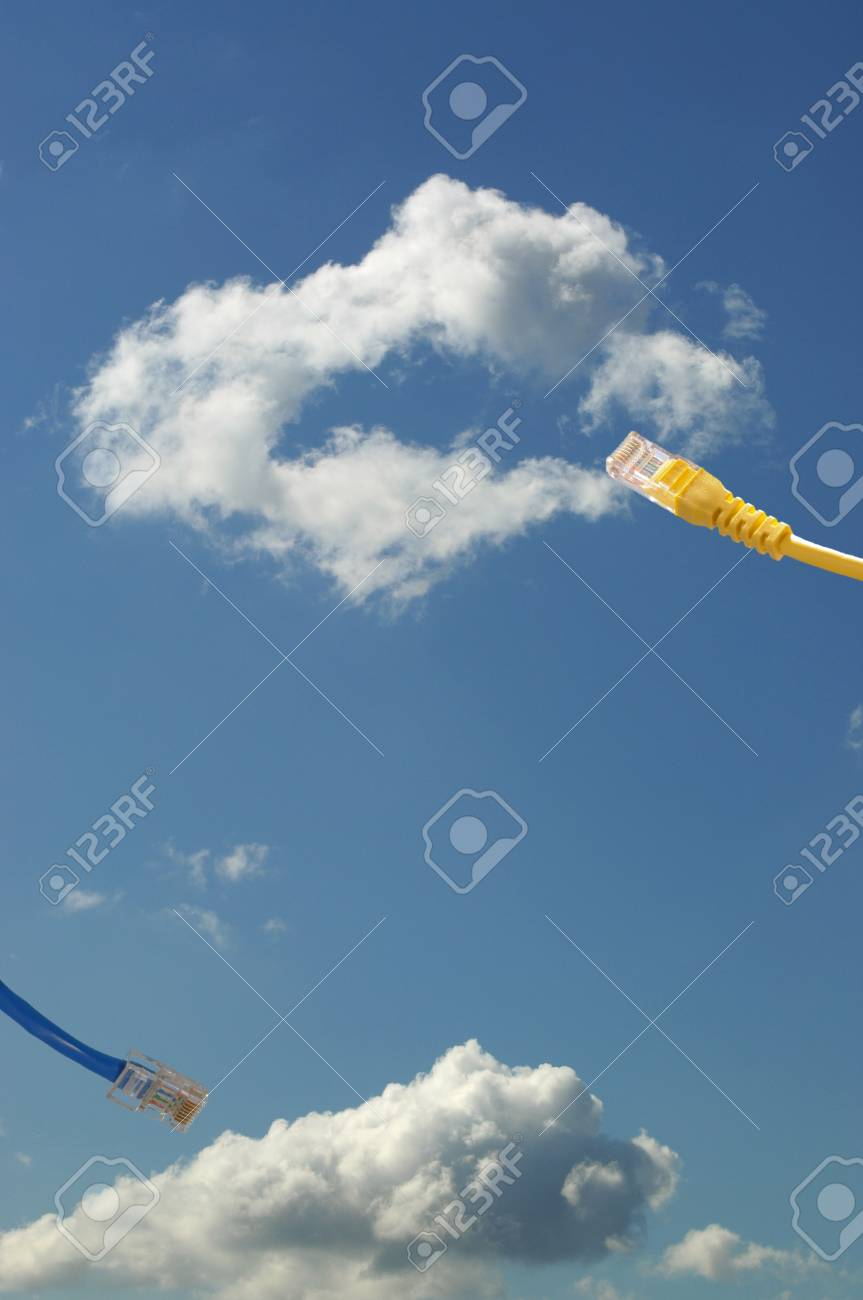 Ethernet cable connecting into cloud Stock Photo - 13084529