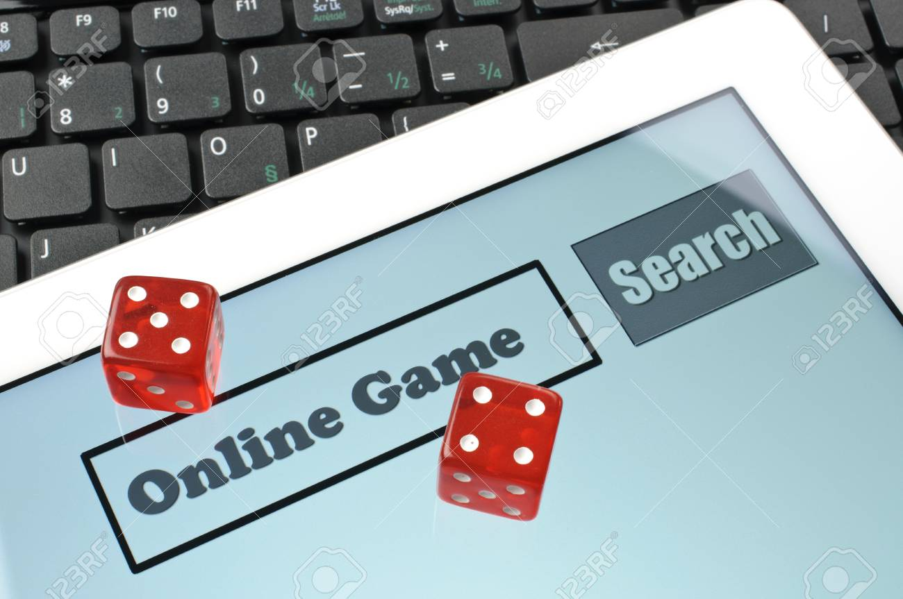 Playing dice for game online on computer keyboard Stock Photo - 16879945