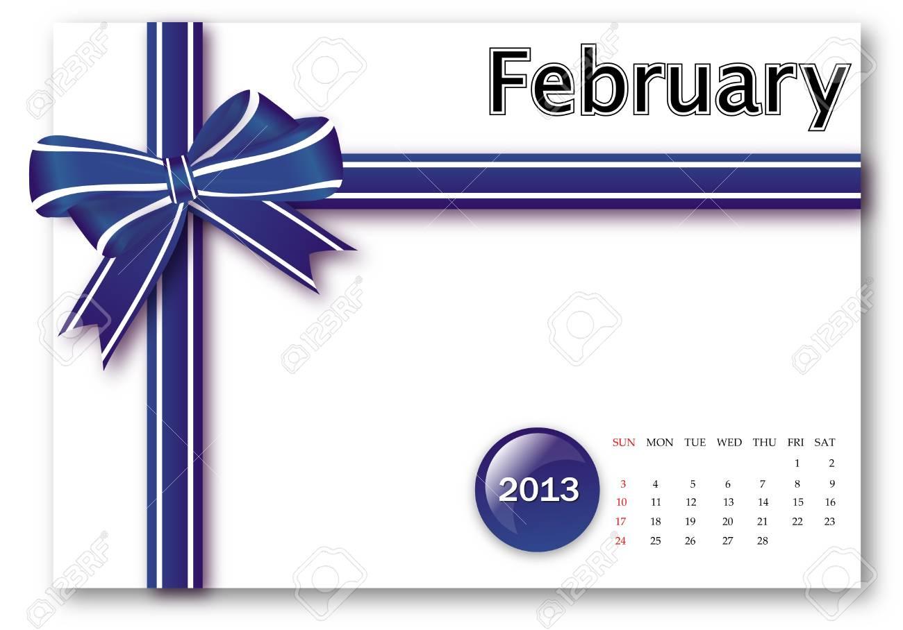 February of 2013 calendar for gift pack design Stock Photo - 17124627