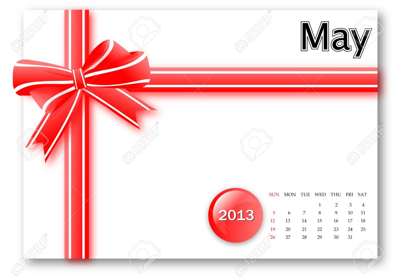 May of 2013 calendar for gift pack design Stock Photo - 17124625