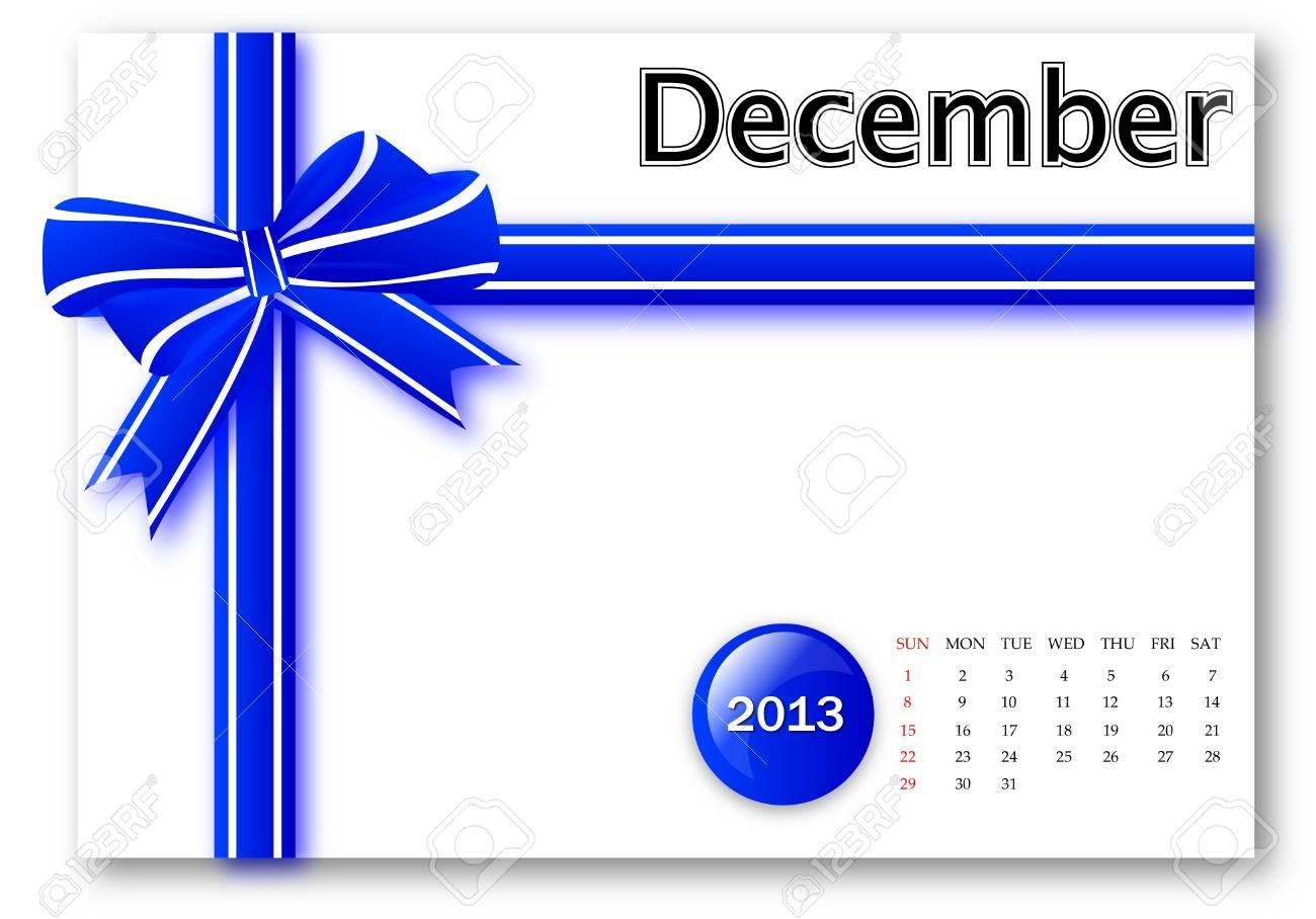 December of 2013 calendar for gift pack design Stock Photo - 17124631