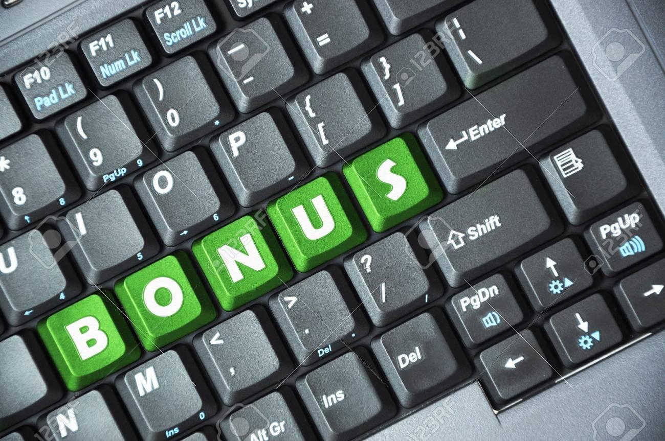Green bonus key on keyboard Stock Photo - 18002635