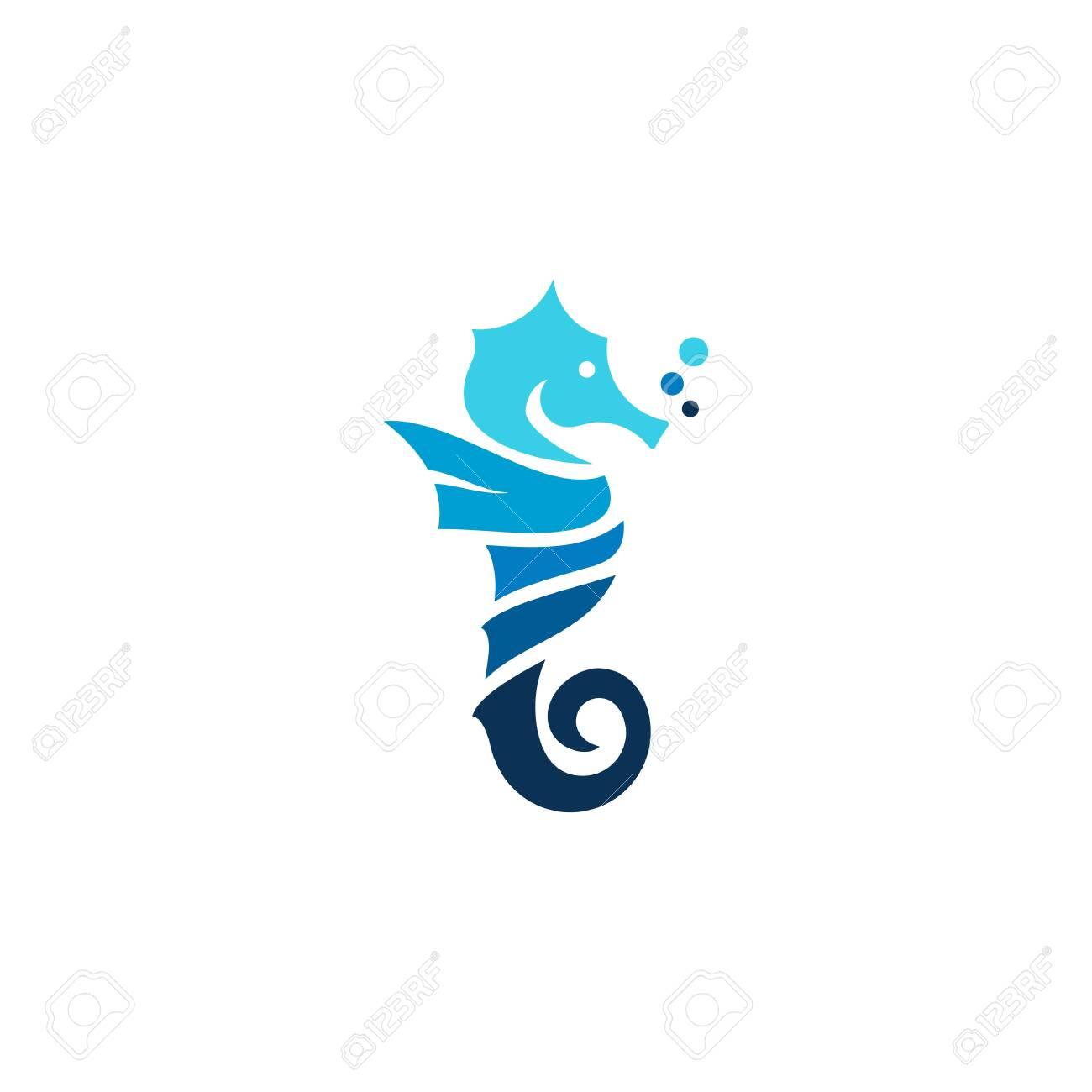 Seahorse Logo Blue Flat Monogram Royalty Free Cliparts Vectors And Stock Illustration Image 127352751