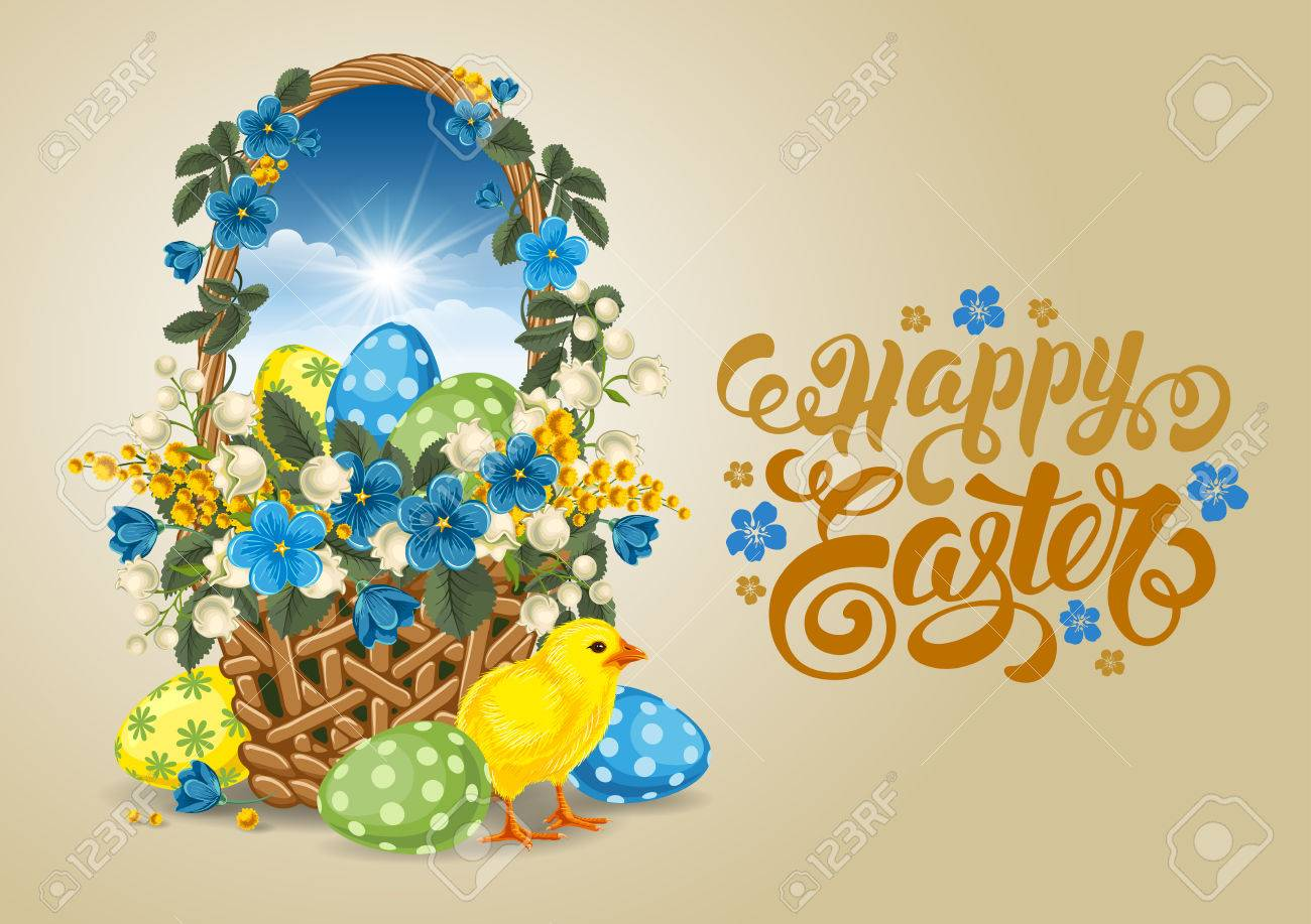Easter Greeting Card With Wicker Basket Full Of Painted Easter