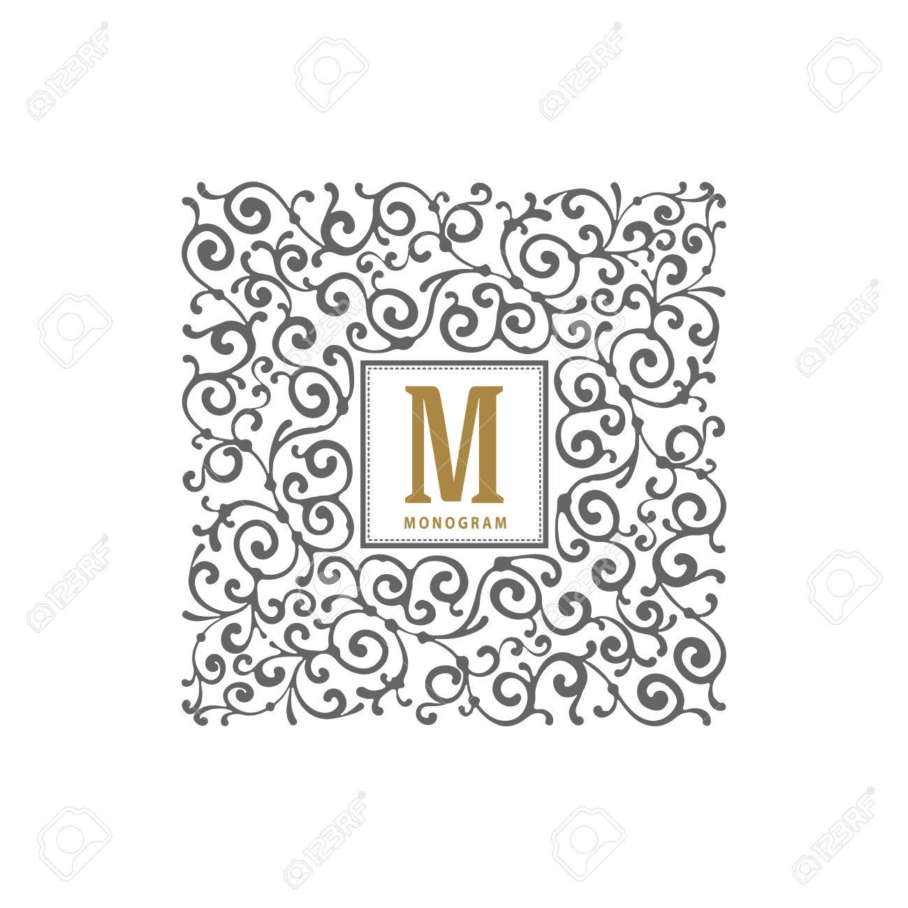 Simple And Elegant Monogram Template With Letter And Flourishes  Calligraphic Ornament Frame. Identity Design For