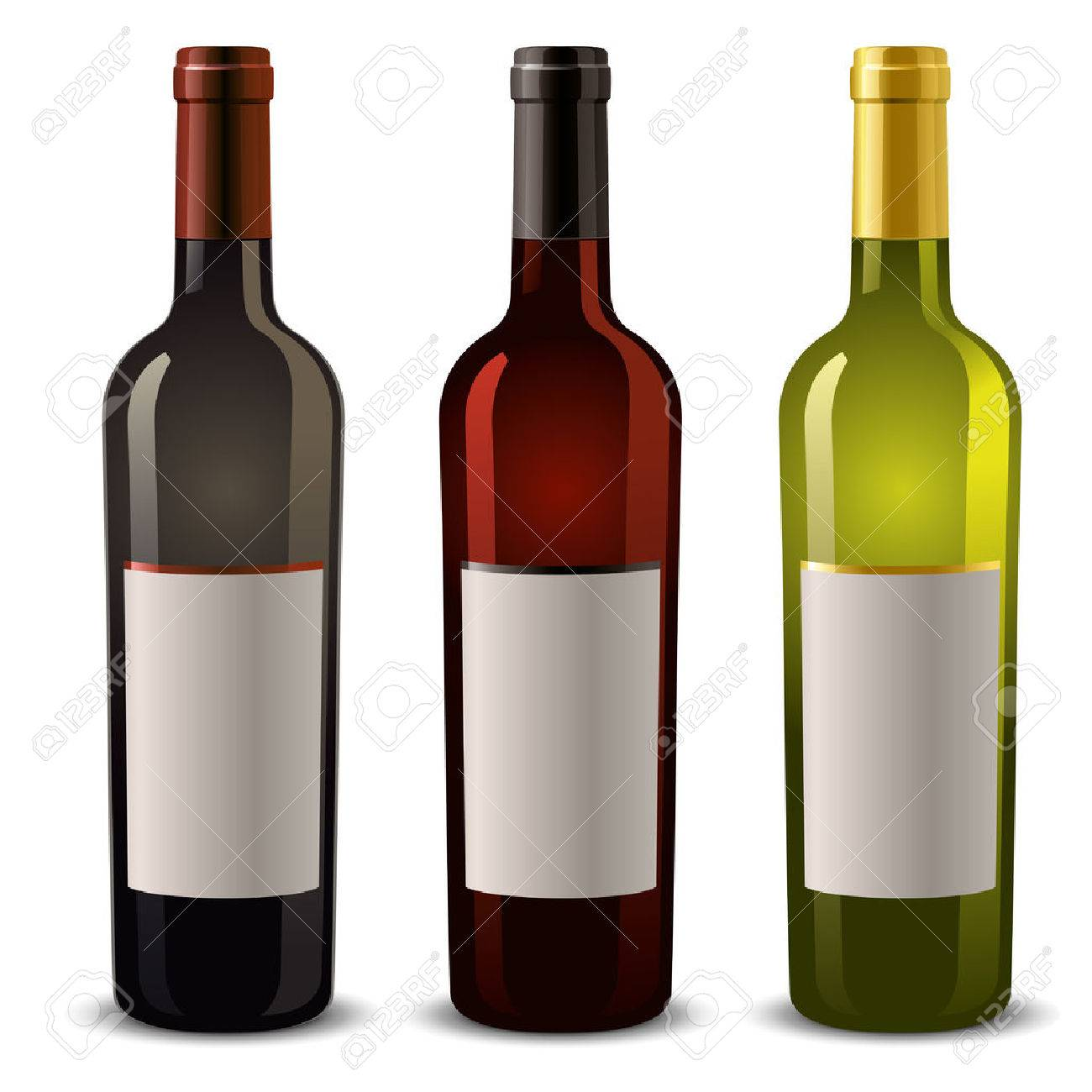 wine bottles with blank label - 54352563
