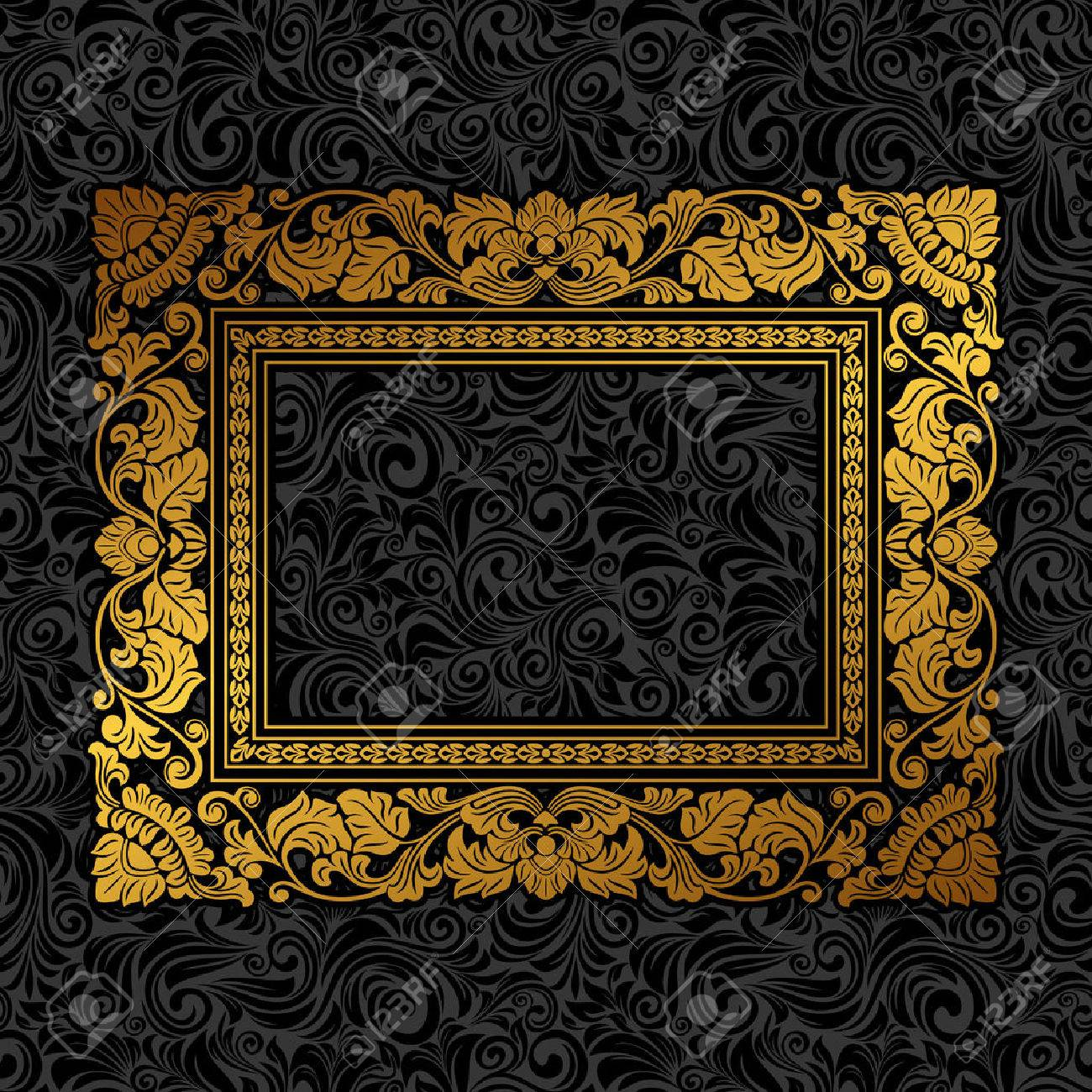Royal gold Picture frame on the dark wallpaper - 54354224