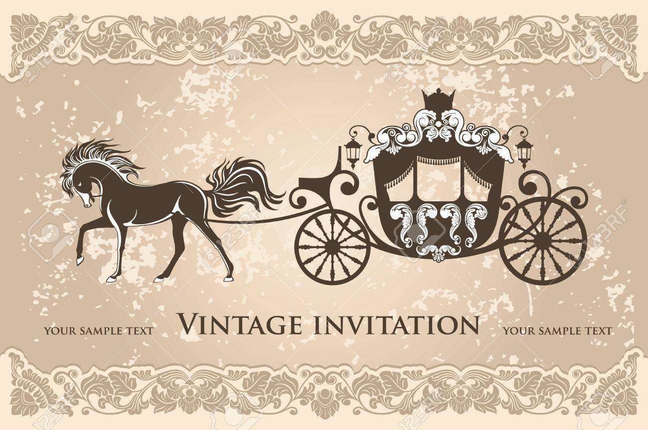 Royal carriage with horse on the grunge background - 54638695
