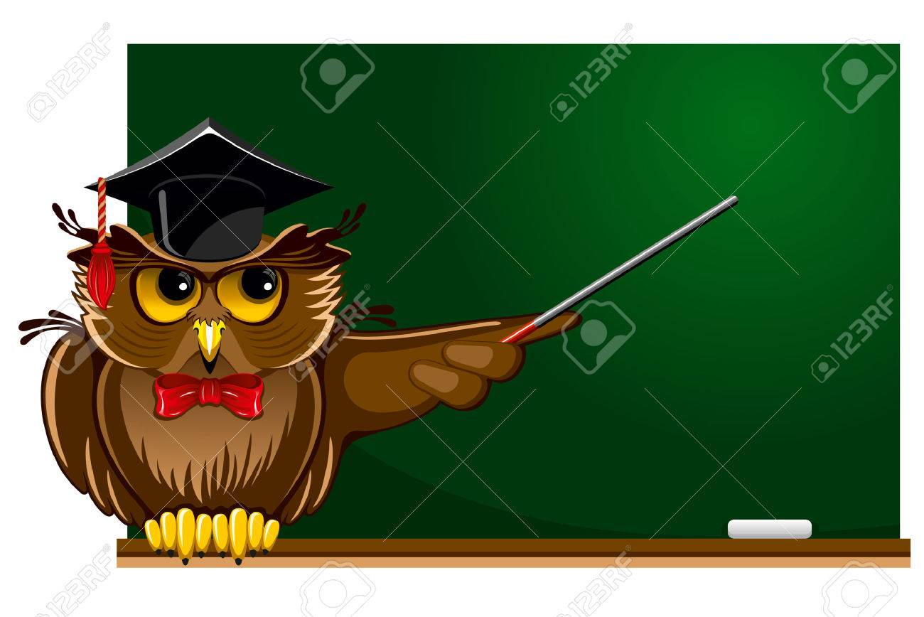 Cartoon Wise Owl In Graduation Cap Sitting On The School Board There Is Place For