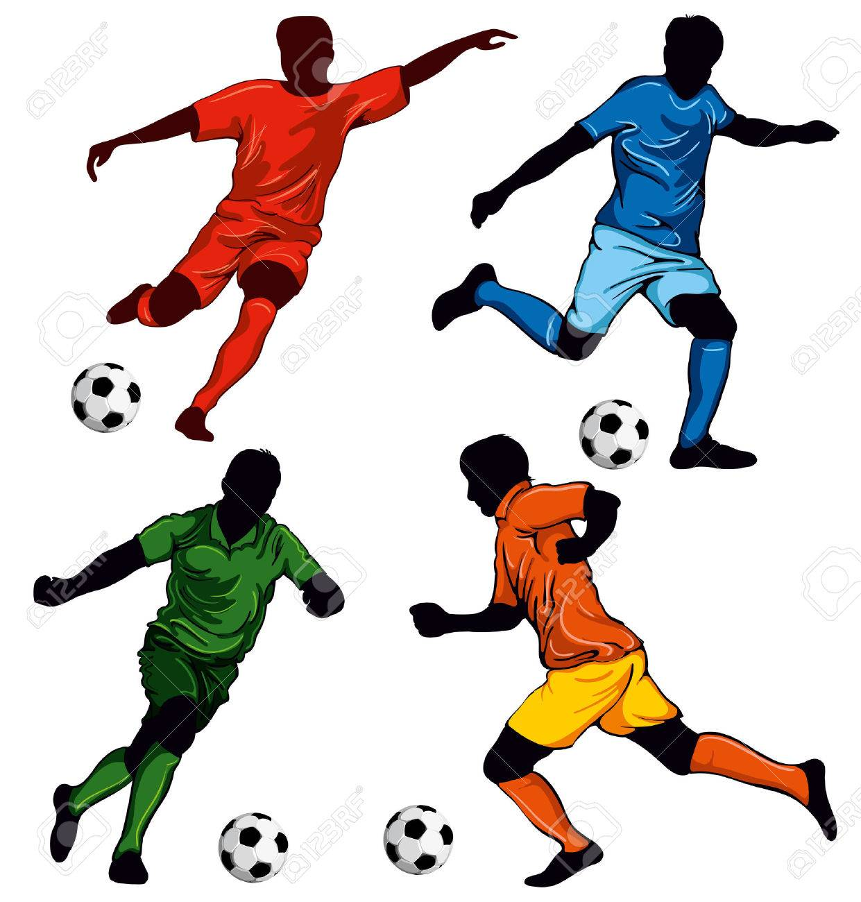 Set of four soccer players in different poses. Beautiful items for your design. - 55003477