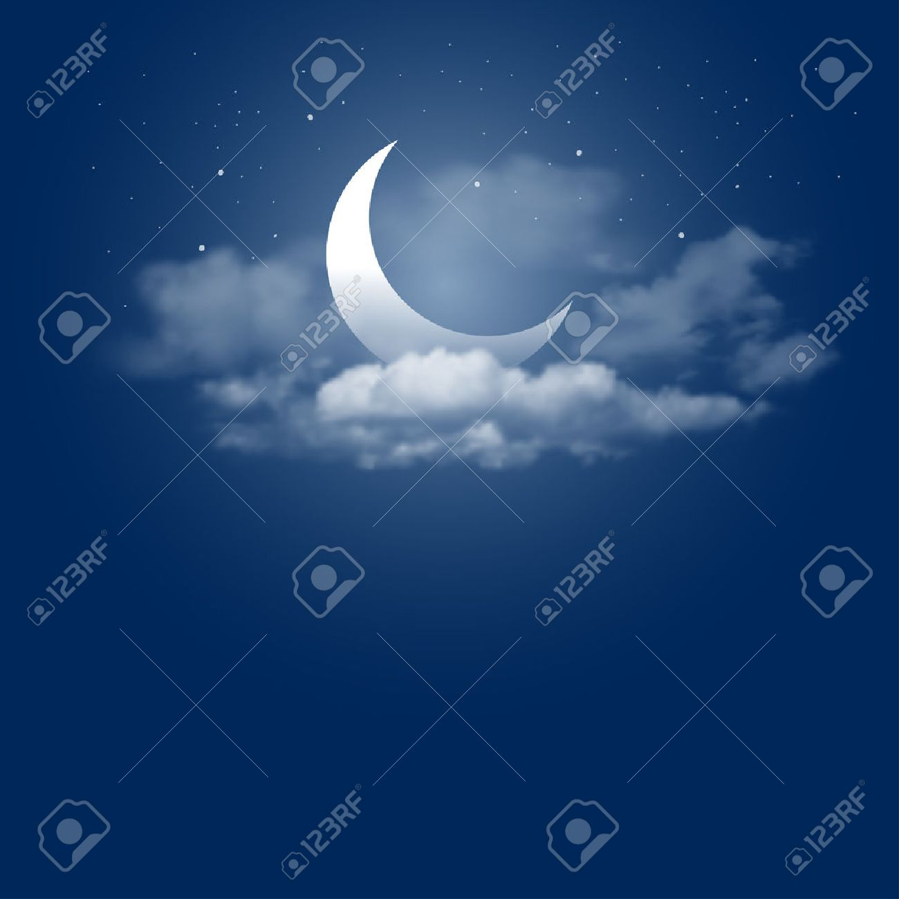 Mystical Night sky background with half moon, clouds and stars. Moonlight night. Vector illustration. - 55571655
