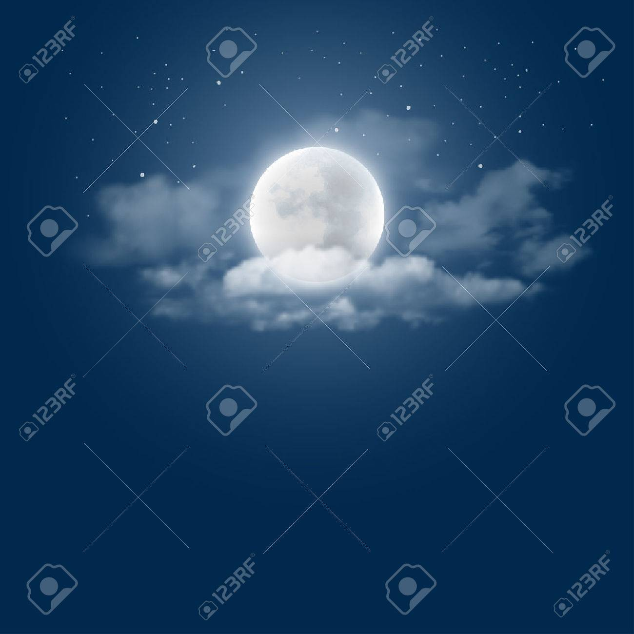 Mystical Night sky background with full moon, clouds and stars. Moonlight night. Vector illustration. - 55571656