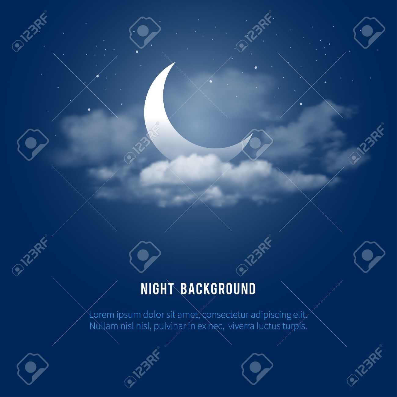 Mystical Night sky background with half moon, clouds and stars. Moonlight night. Vector illustration. - 55571689