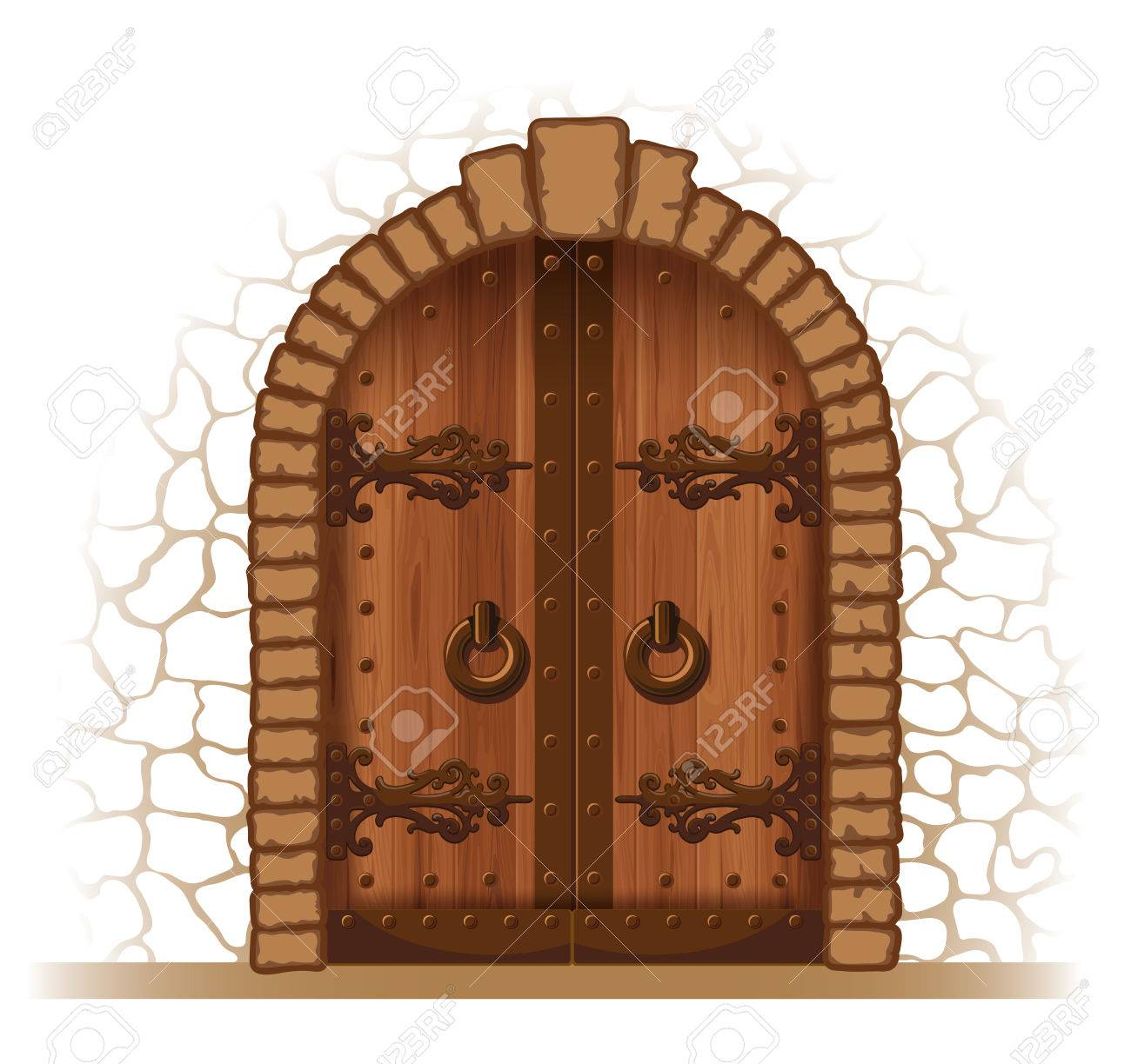 Arched medieval wooden door in a stone wall - 55910367