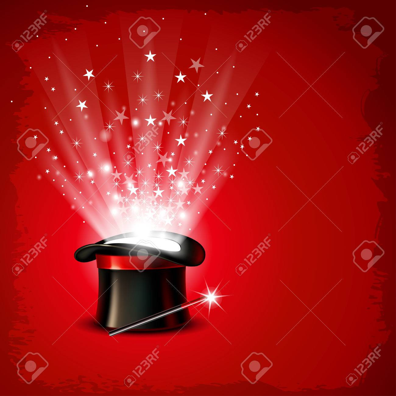 Vintage background with magician hat, wand and magical glow - 55910432