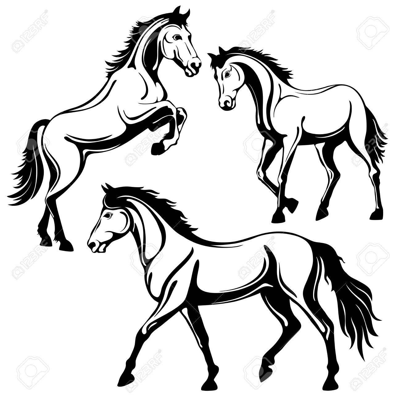 Set Von Drei Pferden Schwarz Weißes Bild Isoliert Auf Weißem