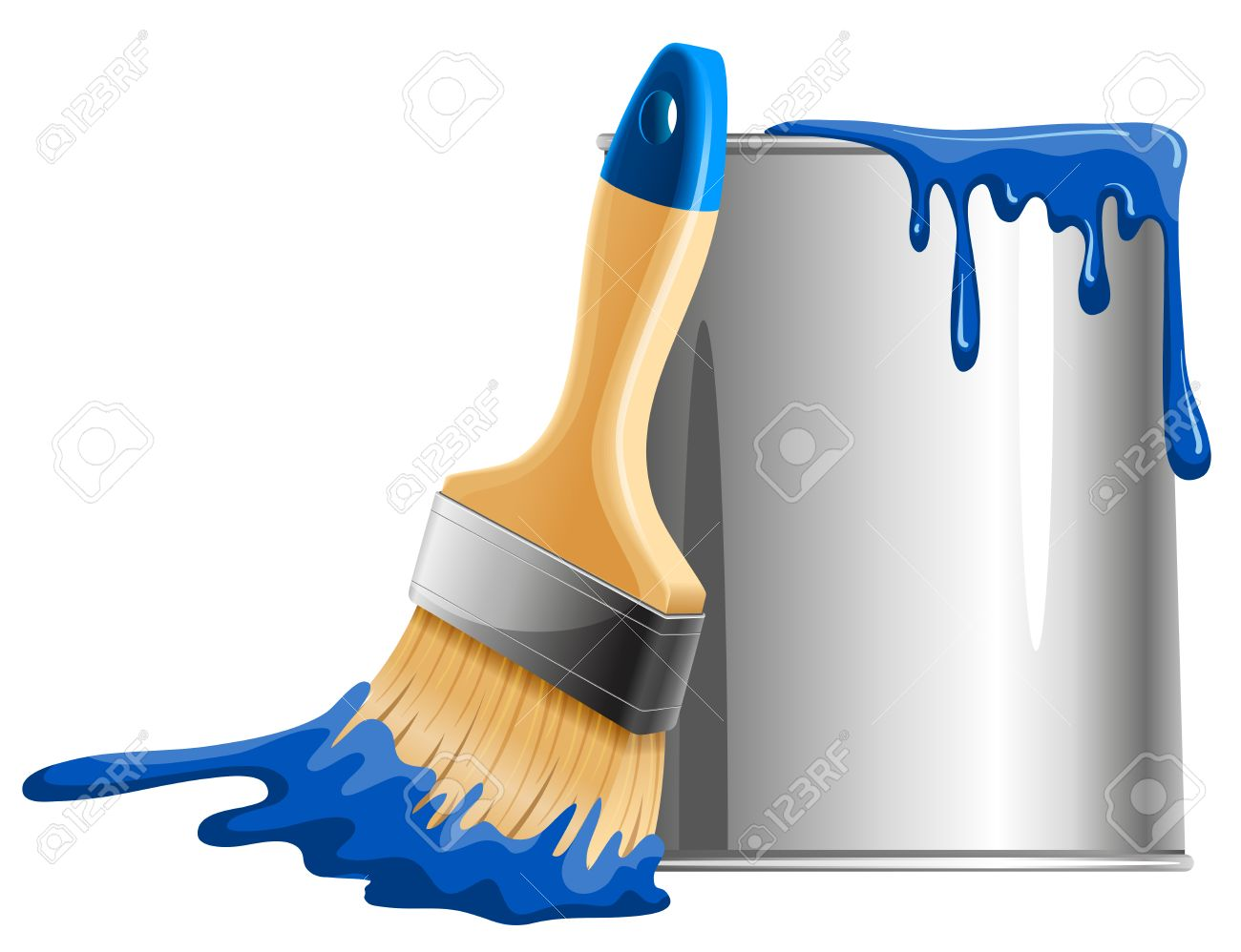 Bucket of blue paint and brush. Vector illustration. - 55910497