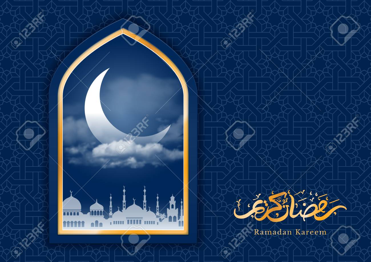 Ramadan greeting card with crescent in mosque window and arabic ramadan greeting card with crescent in mosque window and arabic ornament ramadan kareem calligraphy m4hsunfo