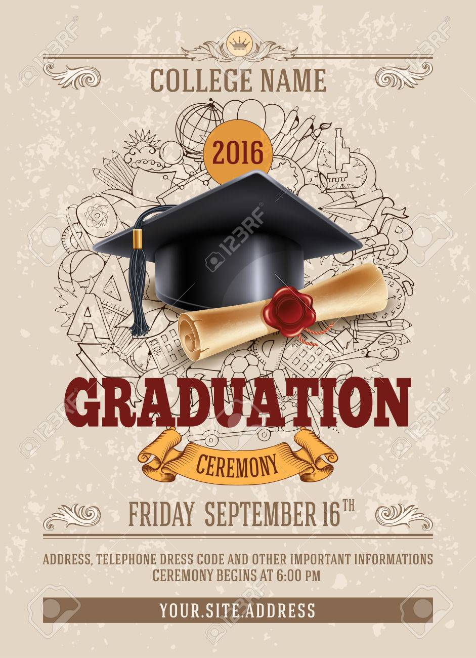 Vector template of announcement or invitation to Graduation ceremony or party with unusual realistic image of Graduation cap and diploma. There is place for your text. - 69204986