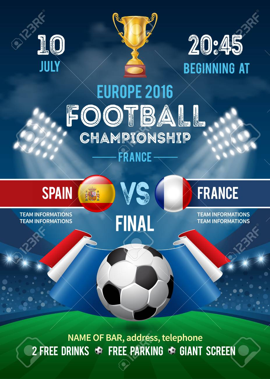Poster template with Soccer Ball and flag of France on Stadium. Football championship in France. Soccer Cup Advertising. Sport Event Announcement. Place Your Text and Emblem of Participants. Vector Illustration. - 69204985